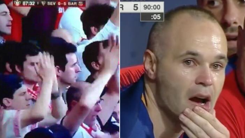 Andres Iniesta Reduced To Tears After Receiving Standing Ovation From Barcelona And Sevilla Fans