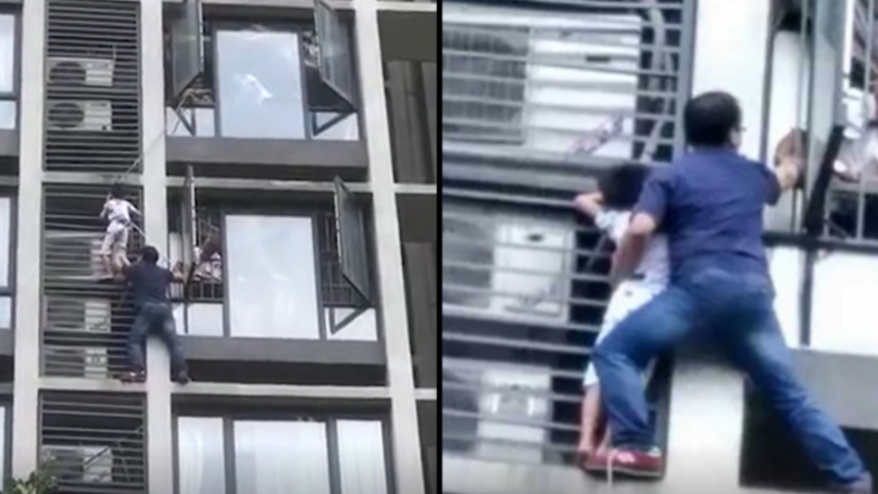 Hero Dad Climbs Building To Save Seven-Year-Old Son