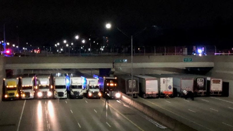 A Fleet Of Truck Drivers Help Stop Man From Jumping From Overpass
