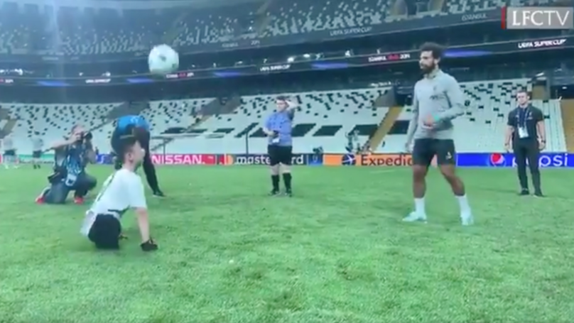 Classy Mohamed Salah Plays With Disabled Fan Ahead Of Liverpool's Super Cup Clash With Chelsea