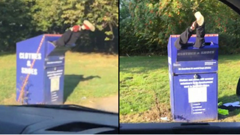 Bizarre Moment Driver Finds Man Stuck Head First In Recycle Bin With Legs In The Air