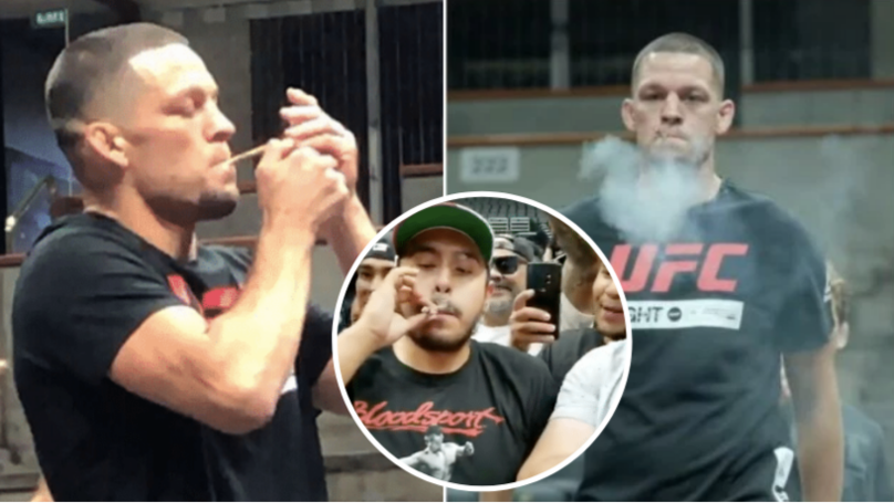 Nate Diaz Smokes A Huge Joint During UFC 241 Open Workout And Passes It Around To Fans
