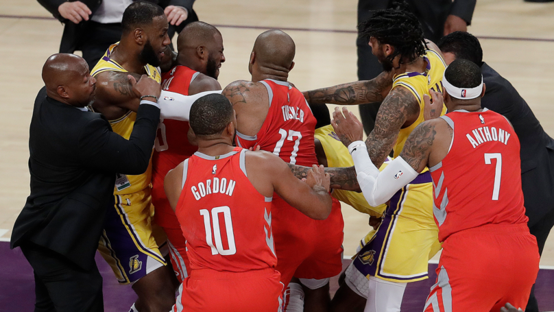Brawl Breaks Out In LeBron James First Home Game For LA Lakers