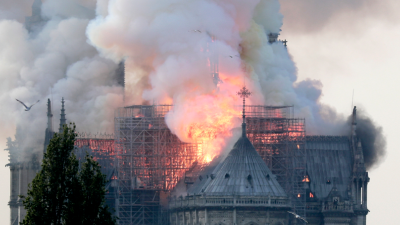 Mum Takes Selfie In Front Of Notre-Dame But Doesn't Realise It's On Fire