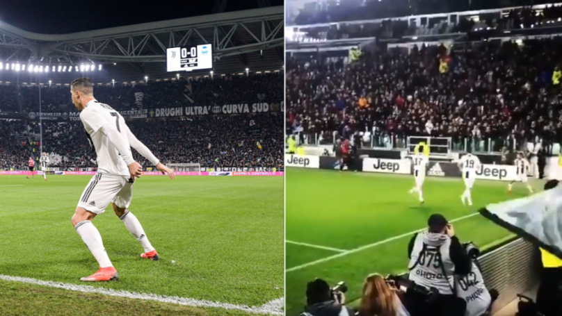 "Entire Juventus Stadium Scream ""SIUUUUUU"" When Cristiano Ronaldo Celebrates vs SPAL"