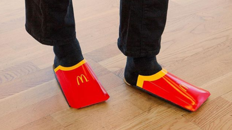Maccies Roasts Balenciaga With Parody Red 'Shoes' Made From Fries Cartons