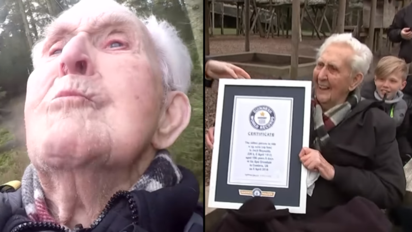 106-Year-Old Man Celebrates Birthday By Becoming Oldest Man To Ride A Zip Wire