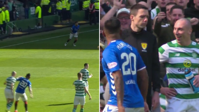 Alfredo Morelos Receives Straight Red In Old Firm Derby After Lashing Out At Scott Brown
