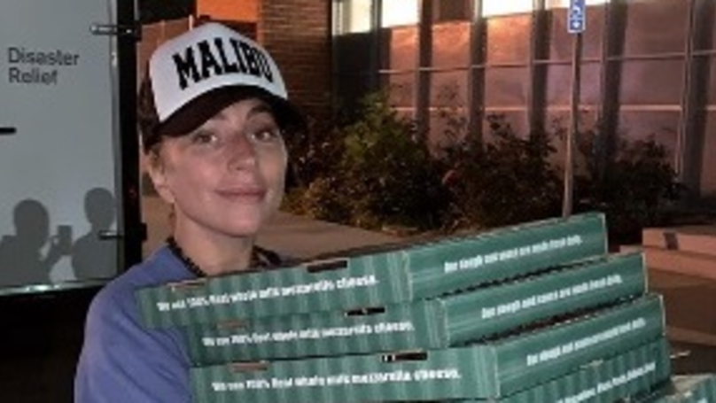 Lady Gaga Hand Delivers Pizza And Sings To 98-Year-Old At Red Cross Evacuation Centre