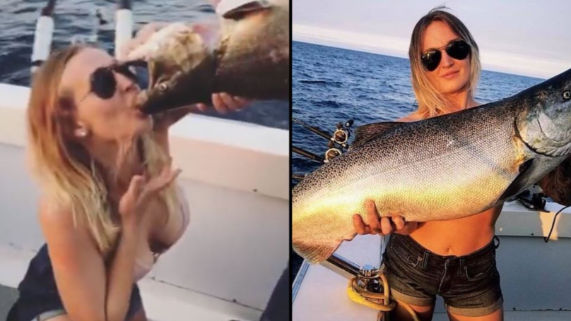 Woman Proudly Chugs Beer Out Of Dead Fishes Mouth