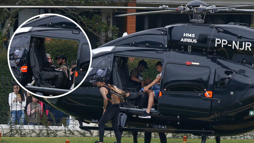 Neymar Arrives For Brazil Training In Personalised Black Mercedes Helicopter Worth Up To €13m