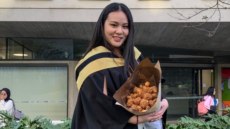 University Student Celebrates Graduation With Bouquet Of Popcorn Chicken Nuggets And Wings