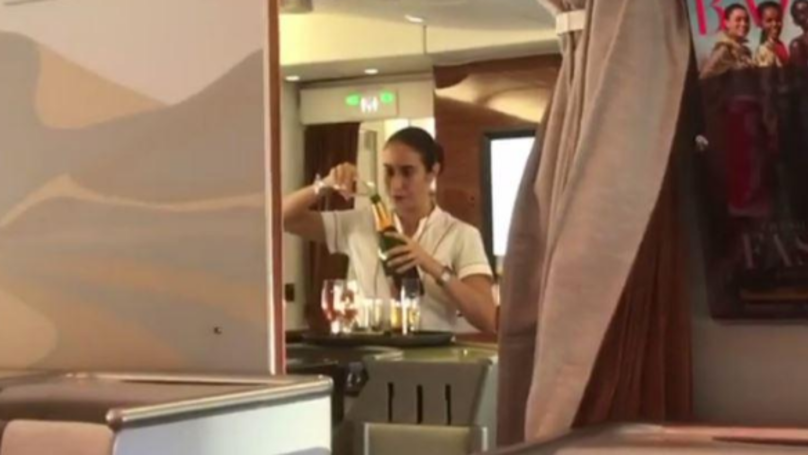 Emirates' Flight Attendant Filmed Pouring Champagne Back Into The Bottle