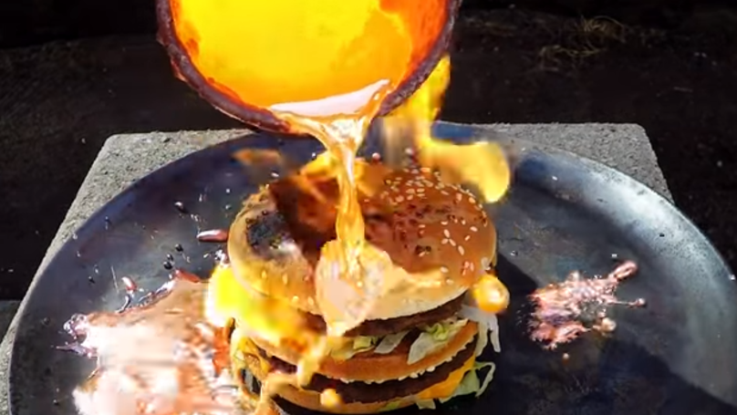 This Is What Happens When You Pour Molten Copper Over A McDonald's Big Mac