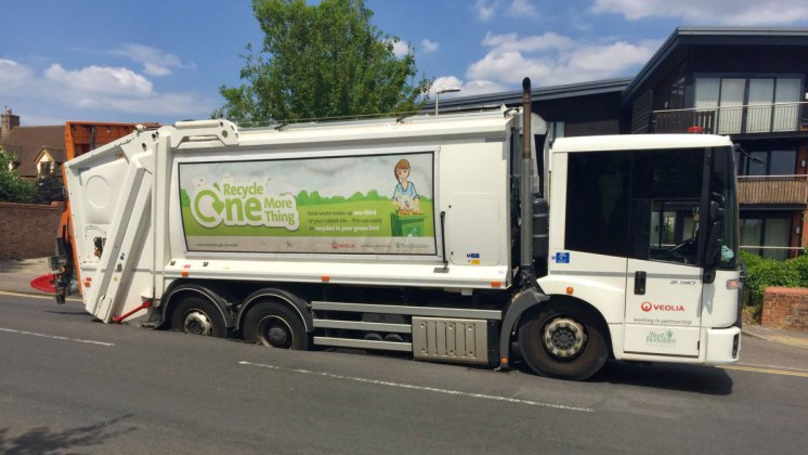 Bin Lorry Gets Stuck In Melting Road As Record UK Heatwave Continues