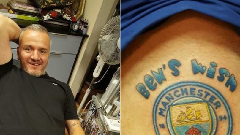 Manchester United Fan Gets City Tattoo To Raise Funds For Friend's Son