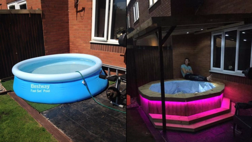 Captivating LAD Makes Simple Homemade Hot Tub Out Of Paddling Pool And Trampoline Frame
