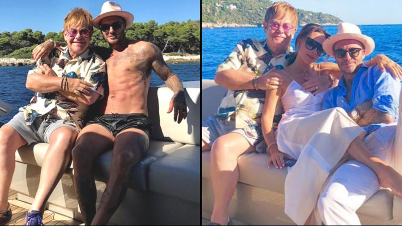 Elton John Is 'Winding Down Summer' With David Beckham And Victoria Beckham