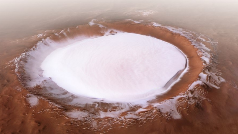 Amazing Photos Show Huge Crater Filled With Ice On Mars