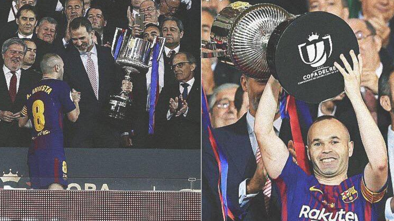 Lionel Messi Paid The Ultimate Respect To Andres Iniesta During Trophy Ceremony