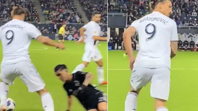 Zlatan Ibrahimovic's Look Of Disgust When Sporting KC Player Attempts To Tackle Him
