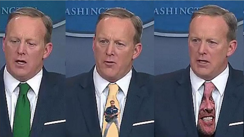 Sean Spicer Gets Video Edit Treatment After Wearing Green Tie