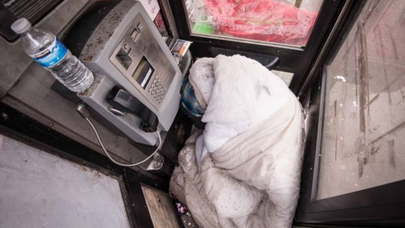 Homeless Man Forced To Sleep In Phone Box For Last Four Months
