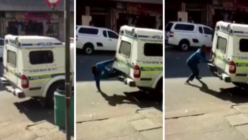 WATCH: Two Criminals Escape Out Of The Back Of A Police Van
