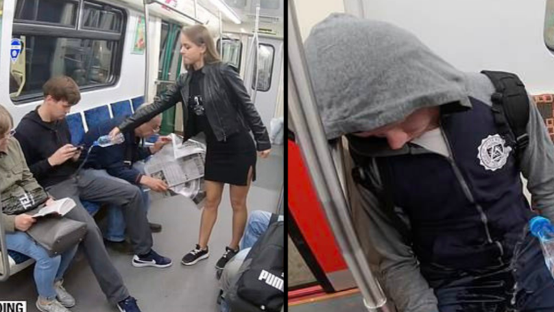 Viral Video Of Woman Pouring Bleach On Men 'Manspreading' Is Fake