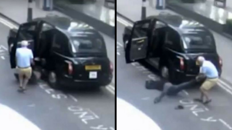 Black Cab Driver Drags Unconcious Man Out Of Taxi And Dumps Him In The Street