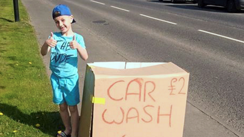 Little Boy Sets Up Car Wash To Buy Flowers For Nan's Funeral