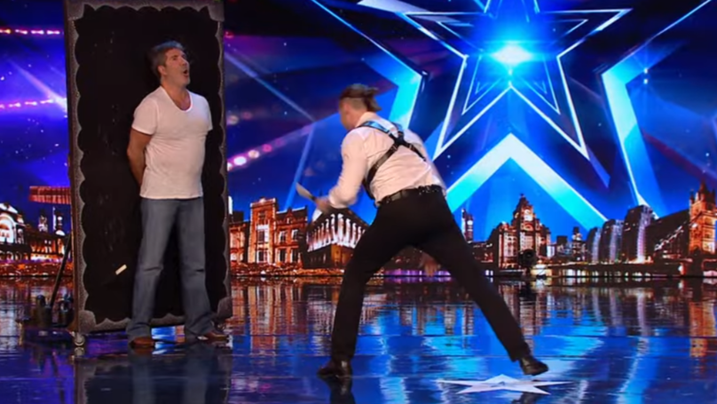 Simon Cowell Takes Part In Knife Throwing Act On Britain's Got Talent