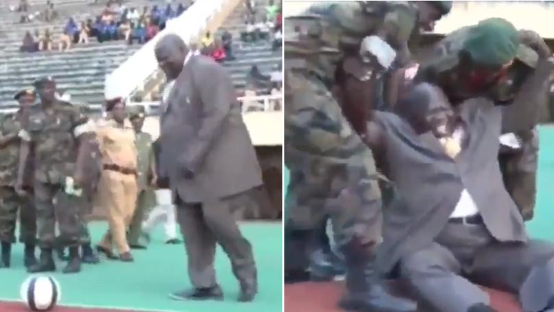 Ugandan Politician Kicks-Off New Football Season, Hits The Deck In Hilarious Fashion