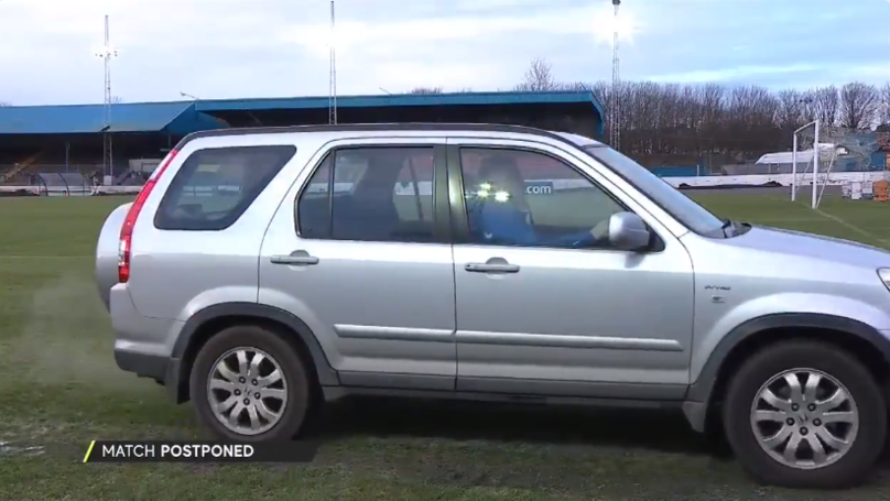 Cowdenbeath Drove A Car On Their Pitch To Try And Unfreeze It