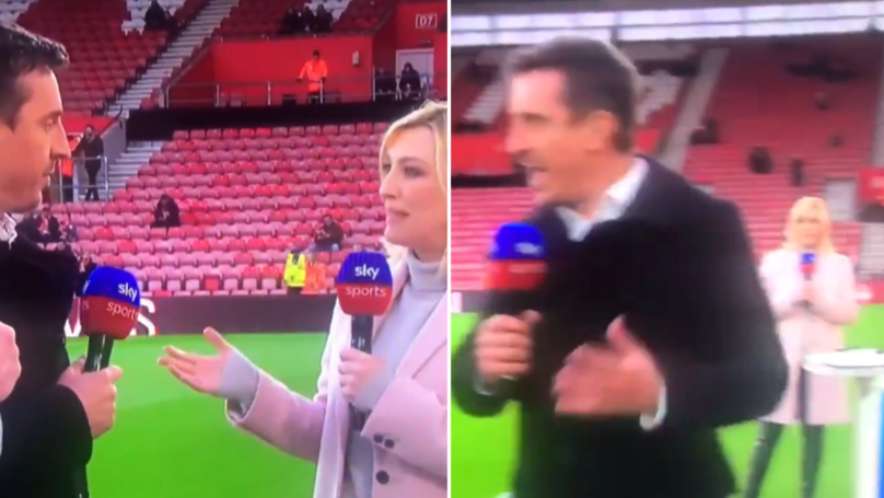 Gary Neville And Jamie Carragher Casually Walk Away From Kelly Cates In Bizarre Interview