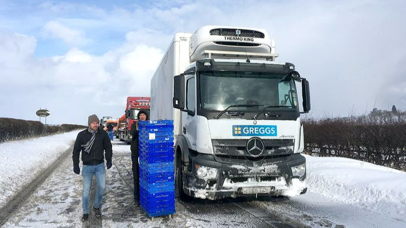 Greggs Delivery Driver Proves Not All Heroes Wear Capes As He Hands Out Food To Stranded Drivers