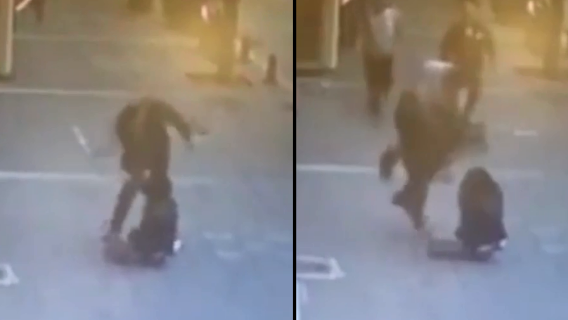 Man Sees Woman Being Attacked And Defends Her With Flying Headbutt