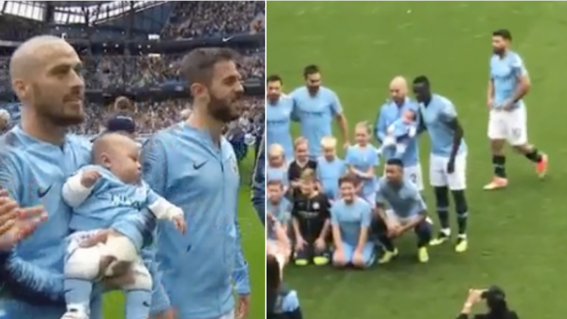 David Silva Carries His Healthy Baby Boy As Mascot For Huddersfield Game