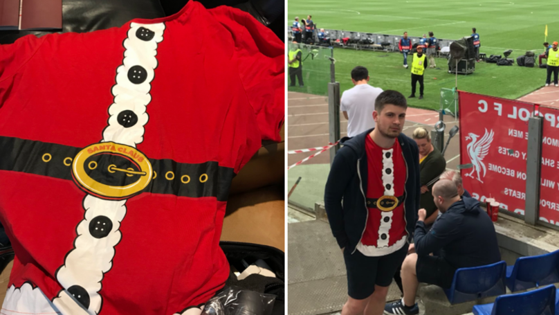 Liverpool Supporter Wears Christmas Jumper His Mum Bought Him To AS Roma Clash