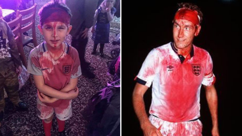 Little Lad Dresses Up As Terry Butcher For Halloween