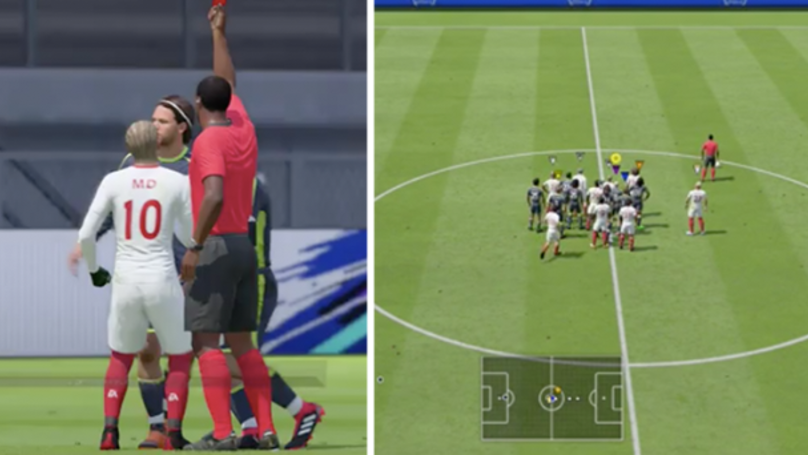Referee Red Cards 3 People At Once & Summons Everyone To Middle Of Pitch