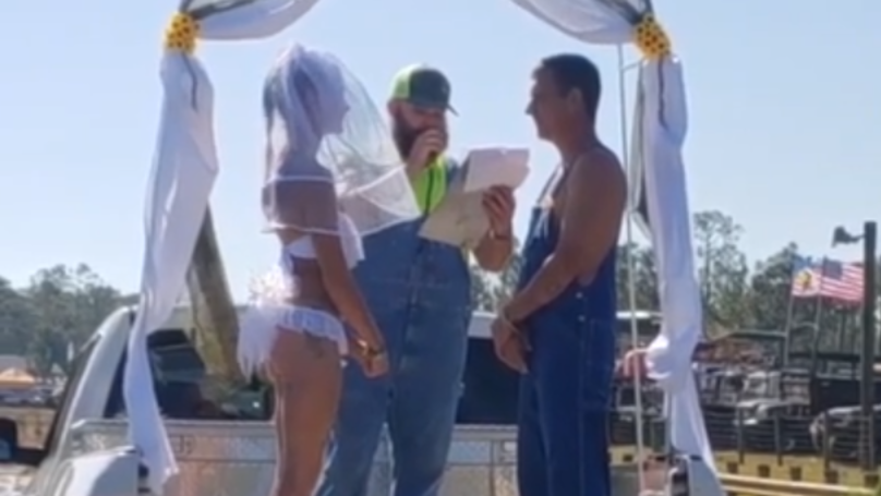 ​Bikini-Clad Bride And New Husband Frolic In Mud After Ceremony