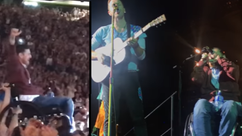 Guy In Wheelchair Crowd Surfs To Join Coldplay On Stage