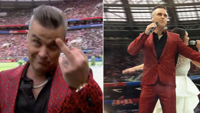 Robbie Williams Gives The Middle Finger To Millions Watching At Home During World Cup Ceremony