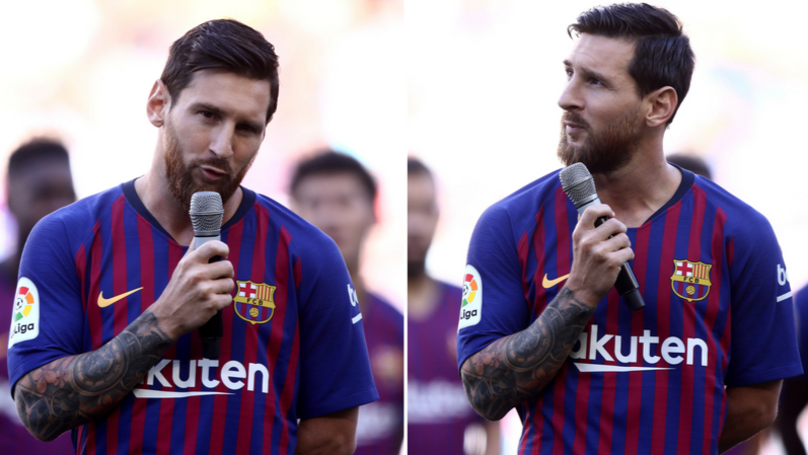 Lionel Messi's First Speech As Barcelona Captain Is Brilliant