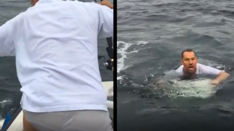 Determined Man Jumps In Sea To Catch Fish After It Unhooked Itself