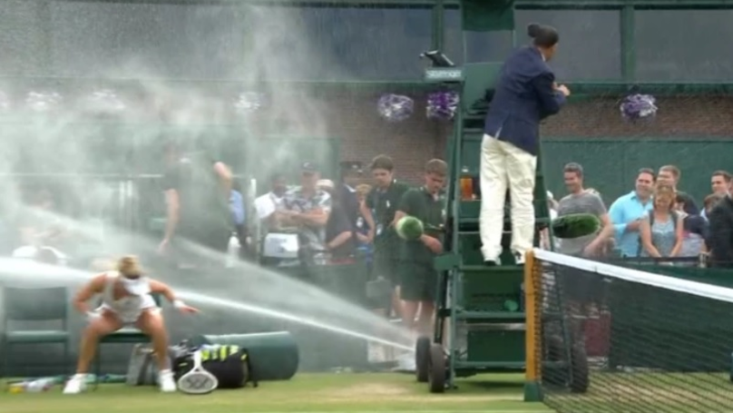 Laura Siegemund Gets Blasted Into Oblivion By Wimbledon Sprinkler System