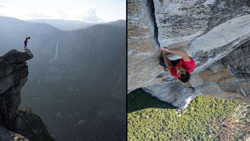 Rock climbers having sex on ropes