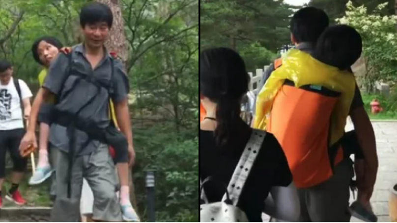 Husband Carries Disabled Wife To Show Her The World So She Doesn't Have Any Regrets