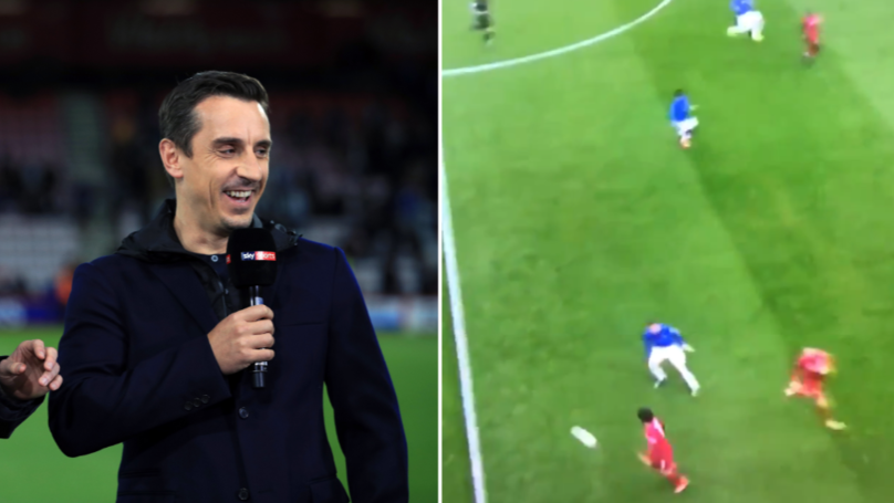 Gary Neville Brutally Mocks Mohamed Salah's Ridiculously Heavy First Touch Against Everton